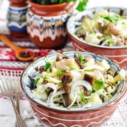 Salad with sauerkraut and mushrooms